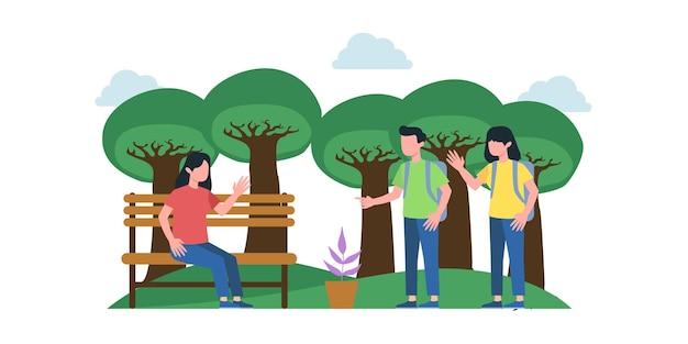 Letnie wakacje piknikowe z przyjaciółmi, parami, rodzinami, relaks na łonie natury, jazda na rowerach i deskorolce. edytowalna ilustracja wektorowa
