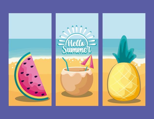Letnie wakacje plakat z plaży i ikon