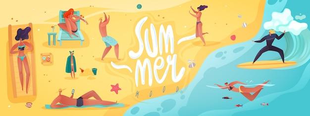 Letnie wakacje poziome ilustracji. długa pozioma ilustracja na temat aktywności na wakacjach na plaży z napisami kobiet i mężczyzn w strojach kąpielowych plażowiczów