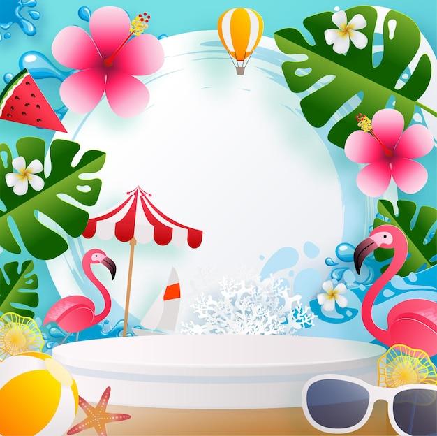 Letnie wakacje projekt 3d produkty podium z kolorowym latem