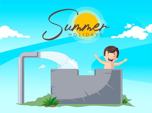 Letnie wakacje projekt z chłopcem bierze kąpiel
