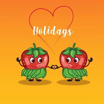 Letnie wakacje projekt z truskawkami