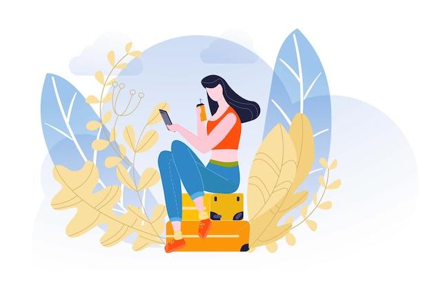 Letnie wakacje, prosta kompozycja, przykład urlopu, piękne walizki, ilustracja. elegancka dziewczyna, atrakcyjna stylowa dama, niesamowity wygląd, glamour włosy.