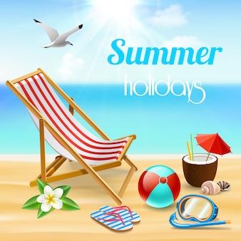 Letnie wakacje realistyczna kompozycja