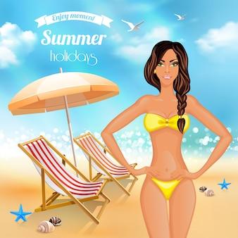 Letnie wakacje realistyczny plakat