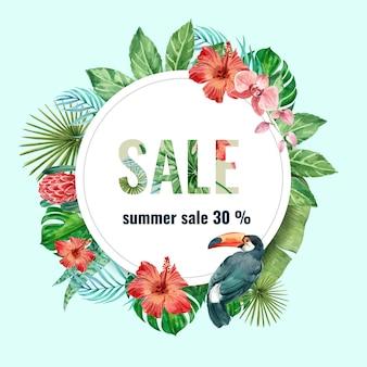 Letnie wakacje reklamowe. promocja zniżki na sprzedaż.