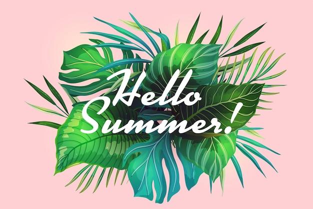 Letnie wakacje różowe tło z miejscem na tekst