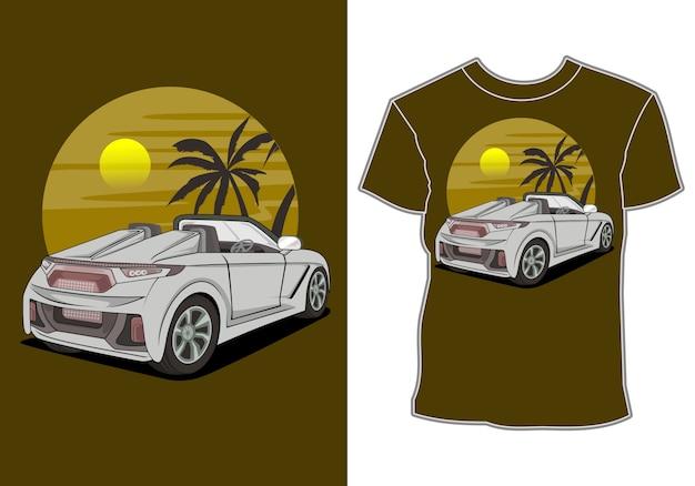Letnie wakacje, samochód przy plaży, projekt koszulki