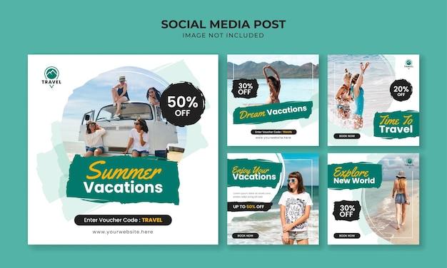Letnie wakacje szablon postu na instagramie w mediach społecznościowych