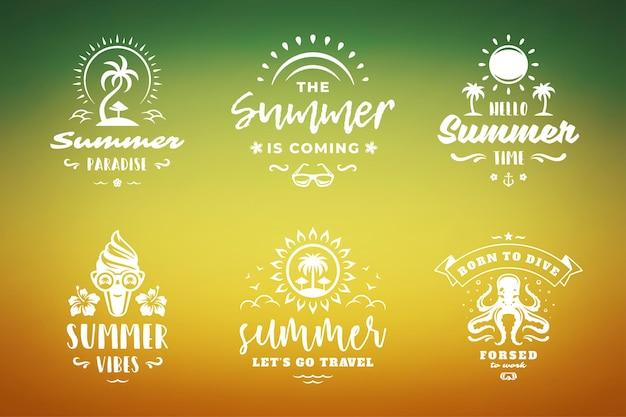 Letnie wakacje typografia inspirujące cytaty lub powiedzenia projektowanie koszulek, kubków, kart okolicznościowych, nakładek fotograficznych, nadruków dekoracyjnych i ilustracji wektorowych plakatu. symbole i przedmioty.