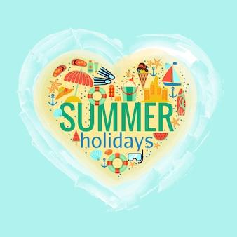 Letnie wakacje w kształcie serca z letnią ilustracją akcesoriów