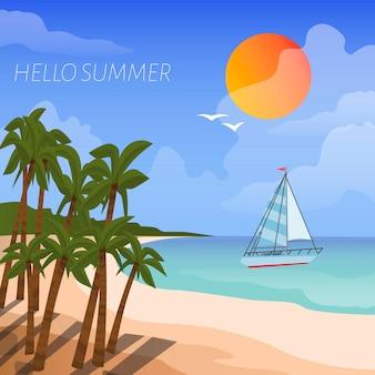 Letnie wakacje wakacje plakat w stylu kreskówki. tło brzeg morza łódź w morzu, słońcu i tropikalnych drzewkach palmowych.