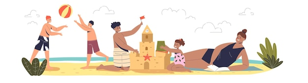 Letnie wakacje z dziećmi. dzieci na plaży grają w siatkówkę i razem budują zamek z piasku na świeżym powietrzu nad morzem w wakacje. ilustracja kreskówka płaski wektor