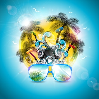 Letnie wakacje z głośnikiem i okularami przeciwsłonecznymi