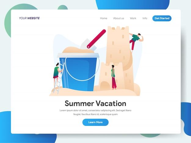Letnie wakacje z zamkiem z piasku i wiaderkiem na stronie docelowej