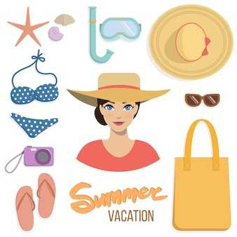 Letnie wakacje zestaw akcesoriów plażowych.