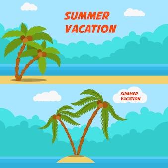 Letnie wakacje. zestaw bannerów stylu cartoon z palmami i plażą. wizerunek