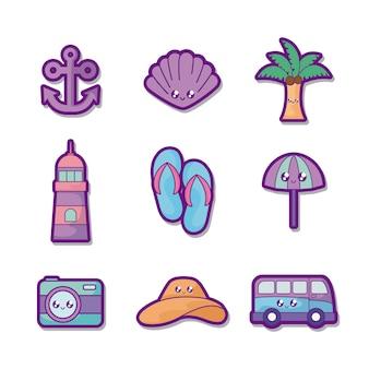 Letnie wakacje zestaw ikon
