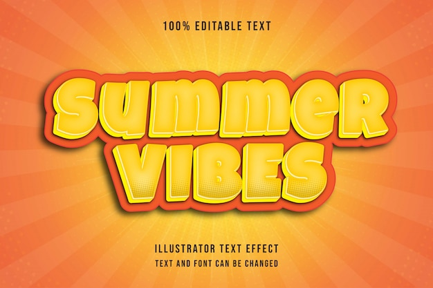 Letnie wibracje, edytowalny tekst 3d efekt nowoczesnego stylu komiksowego cienia