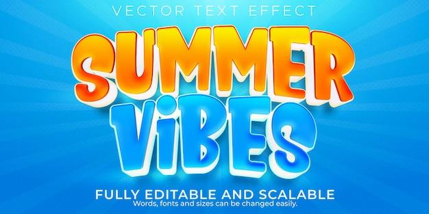 Letnie wibracje efekt tekstowy edytowalny styl tekstu plaży i słońca