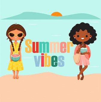 Letnie wibracje. śliczne dziewczyny w letnim stroju