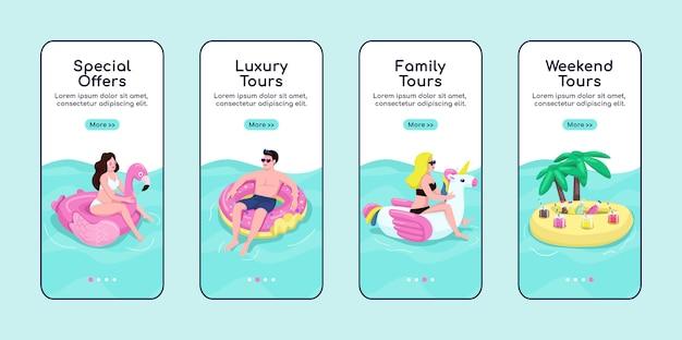 Letnie wycieczki po morzu na pokładzie szablonu ekranu aplikacji mobilnej. oferty specjalne, wycieczki premium. przewodnik po witrynie z postaciami. interfejs rysunkowy smartfona ux, ui, gui, zestaw wydruków skrzynek