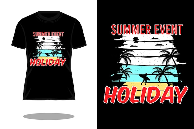 Letnie wydarzenie wakacje sylwetka retro projekt koszulki