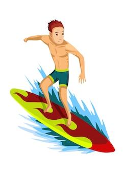 Letnie zajęcia na plaży. facet jedzie na desce surfingowej. zdobywca fal. wakacje na plaży. styl kreskówkowy