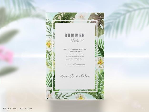 Letnie zaproszenia na przyjęcie kwiatowa zieleń