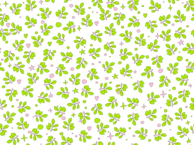 Letnie zielone liście wzór.