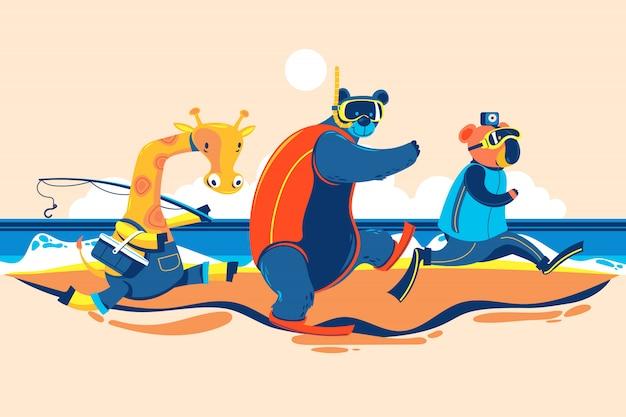 Letnie zwierzę żyrafa, niedźwiedź i koala idą na plażę, aby łowić ryby, nurkować z rurką i robić selfie