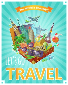Lets go travel poster