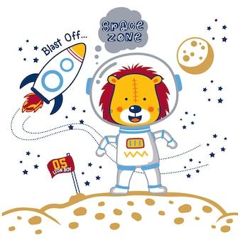 Lew astronauta zabawna kreskówka zwierzęca