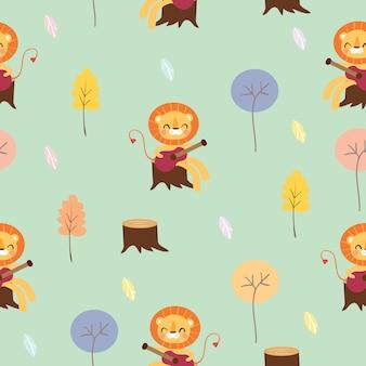 Lew bawić się gitarę w lasu bezszwowym wzorze