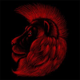 Lew do projektowania tatuażu lub t-shirtów lub odzieży wierzchniej. lwy w stylu myśliwskim
