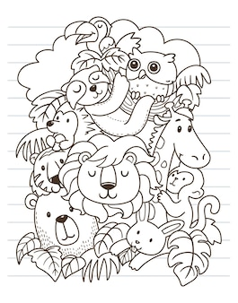 Lew i przyjaciele doodle sztuki