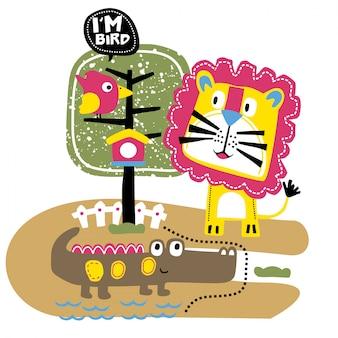 Lew i przyjaciele w zoo śmieszna zwierzęca kreskówka, ilustracja