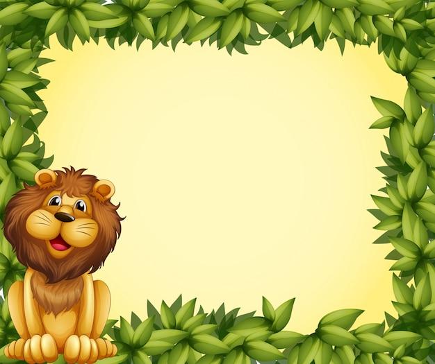 Lew i szablon z liściastej ramki