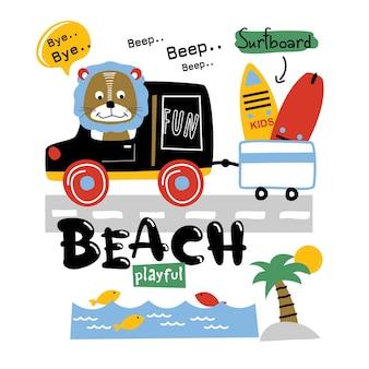Lew iść na plażę, zabawna kreskówka zwierząt
