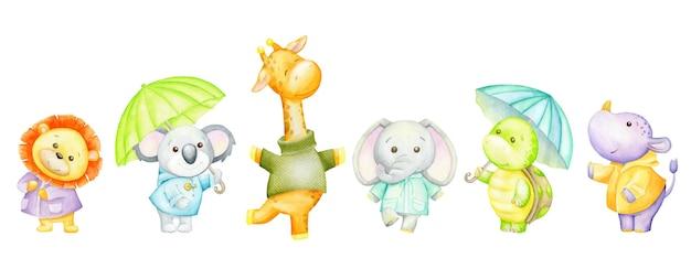 Lew, koala, żyrafa, słoń, żółw, hipopotam, parasole. akwarela zestaw zwierząt tropikalnych.