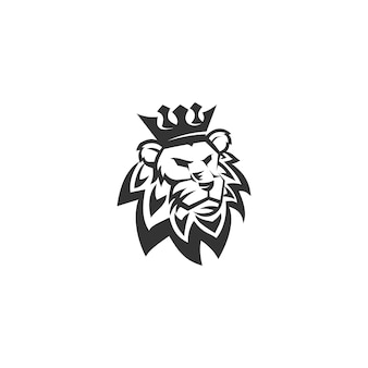 Lew korona szablon ilustracja godło maskotka na białym tle