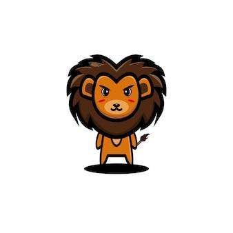 Lew kreskówka wektor ilustracja grafika zwierzęca
