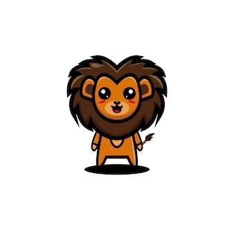 Lew kreskówka wektor ilustracja zabawna maskotka