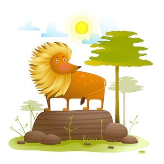 Lew kreskówka zwierząt w dzikiej przyrody z drzew trawnik i skały