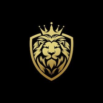 Lew król logo projekt wektor szablon