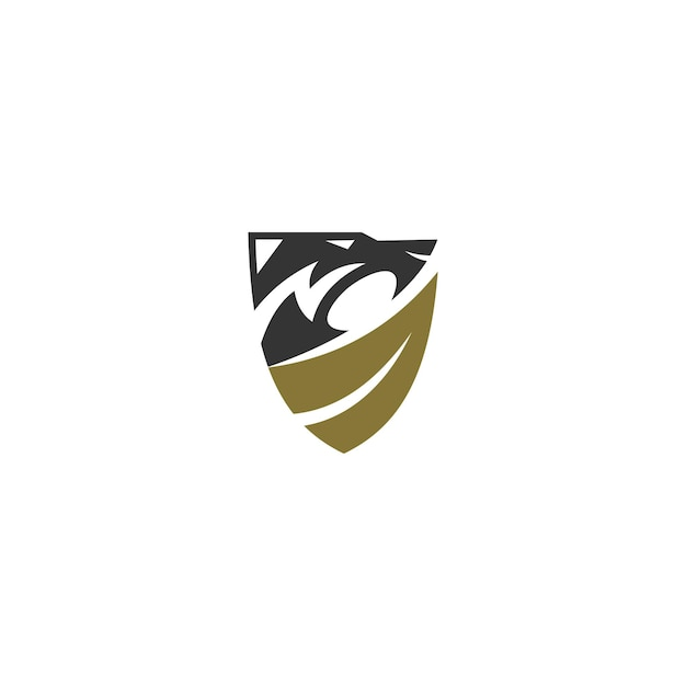 Lew liść tarczy szablon ilustracja godło maskotka na białym tle