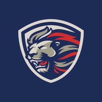 Lew na logo esport i sport maskotka na białym tle