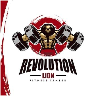 Lew o mocnym ciele, logo klubu fitness lub siłowni.