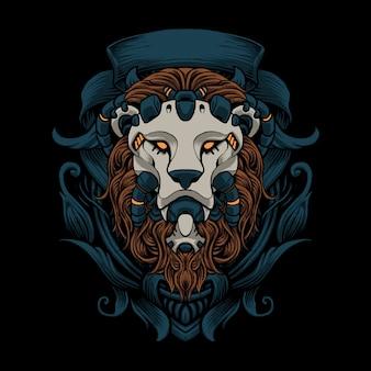 Lew ozdoba ilustracji sztuki wektorowej