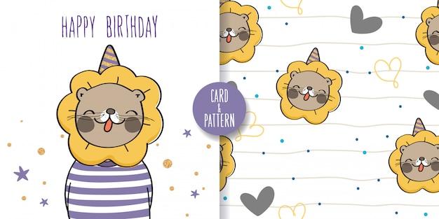 Lew ręcznie rysowane zwierzęta przyrody ładny kolorowy gest szczęśliwy z przyjęciem urodzinowym szwu i ilustracji